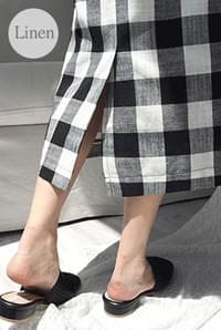 Lois linen checked skirt