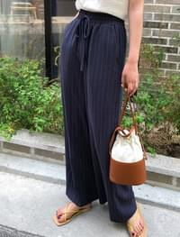 linen stripe wide pants