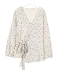 pearl blossom wrap blouse