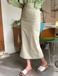 sensual h-line check slit skirt