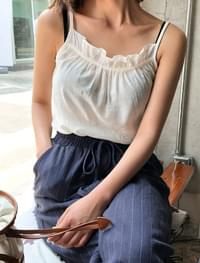 linen shirring sleeveless