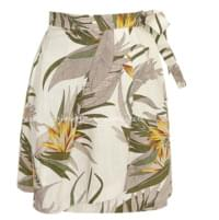 TIFEE LINEN TROPICAL WRAP SKIRT