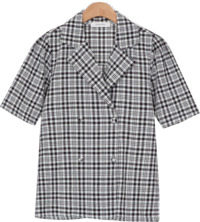 Double Button Check Blouse