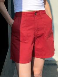 4 color cotton pocket shorts