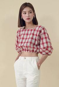 Check pattern crop blouse