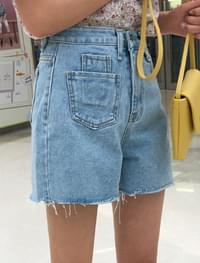 pocket A-line denim shorts