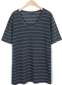Linen necked striped short sleeve tee