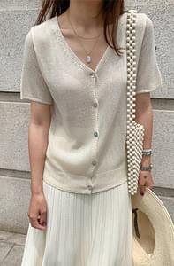 Summer V-neck short-sleeved cardigan