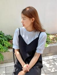 Pure wrinkle span blouse_A