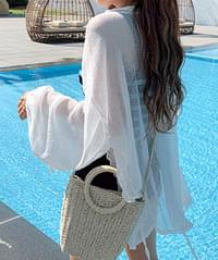 Striped Shirring Robe