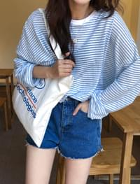stripe slit cotton tee