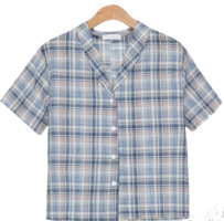 linen v-neck check shirts