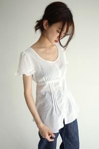 pintuck detail frill blouse (3colors)