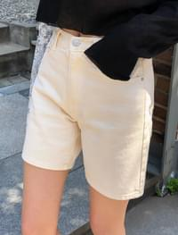 Daily simple three part cotton short pants