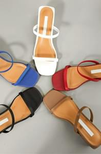 Square Color Cowhide Sandal Hill