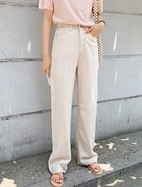 Stitched wide flat pants