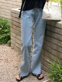 slit detail cotton denim pants