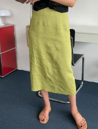 6 color linen banding skirt