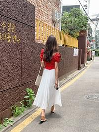 Chiffon shangle pleated long skirt