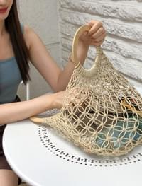 rattan flat tote bagwood handle rattan tote bag