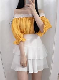 ♥ nary race off shoulder blouse