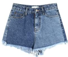 mix color denim short pants - woman