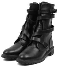 leather strap walker boots