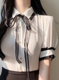 Aro short sleeve ribbon blouse