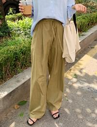 Strap wide pin-tuck pants_N