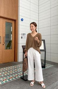Wide Linen Bending Pants