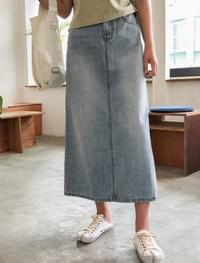 washing denim long skirt