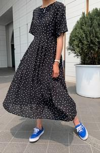 Vintage Dot Pleated Long Dress