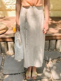 modern linen button skirt