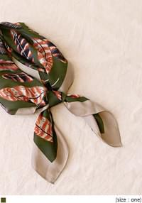 RONY FEATHER PATTERN SILKY SCARF