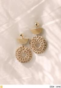 CALEY WOOD RATTAN DROP EARRING