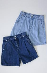 Pin tin denim wide shorts