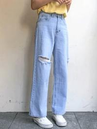 Cutting wide-denim pants