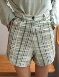 3 color stripe linen shorts