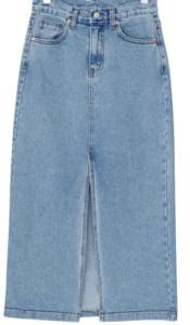 Front denim long skirt スカート