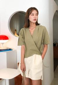 V neck wrap ribbon blouse