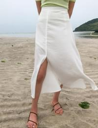 soft banding slit long skirt