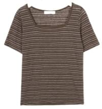 square stripe linen T