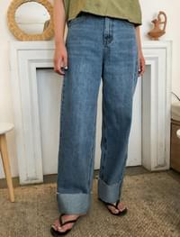 roll-up wide denim pants