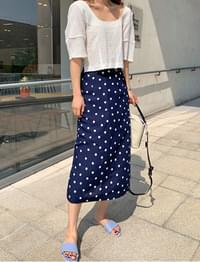 Dot linen long skirt_J (size : free)