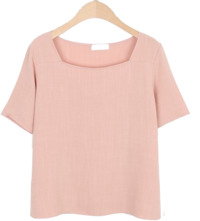 Linen Square Neck Short Sleeve Tee