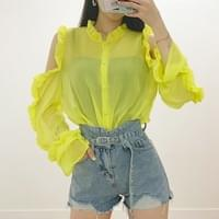 Cindy shoulder trim ruffle blouse