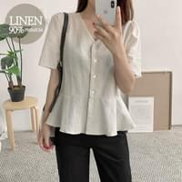 Plotted linen blouse