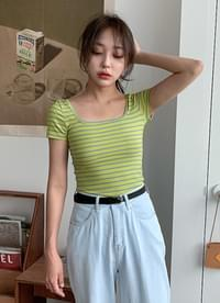 Slim striped short sleeve tee