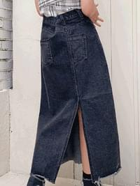 Cutting mood denim long skirt