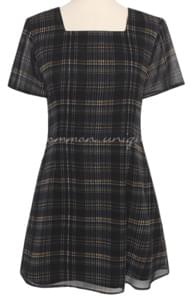 Square Neck Mini Check Dress